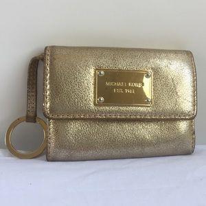 MICHAEL KORS gold wristlet wallet coin purse